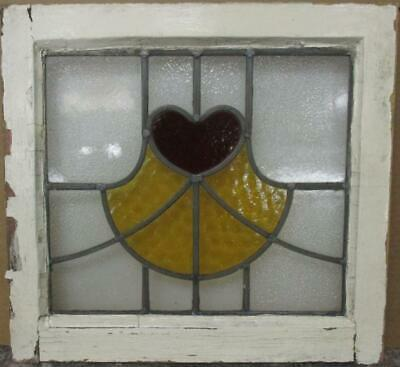 "OLD ENGLISH LEADED STAINED GLASS WINDOW Cute Heart & Sweep Design 19.25"" x 18"""