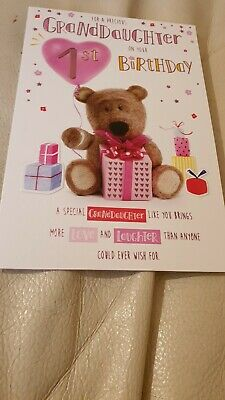 Granddaughter Age 1 1st Bear /& Presents Design Happy Birthday Card Lovely Verse