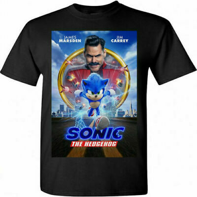 New Sonic the Hedgehog Movie Jim Carrey 2020 Poster T-shirt SIZE S-3XL