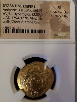 Byzantine Empire Andronicus II & Micahel IX NGC Choixe XF Ancient GOLD Coin