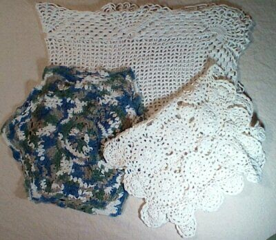 Vintage Hand Made Hand Crochet Doily Table Scarf Runner Craft Project Free Ship