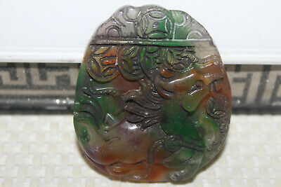 Chinese master hand-carved emerald mascot amulet
