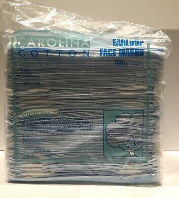 Carolina Cotton - Earloop Face Masks BLUE  - 100/bag - Medical Grade