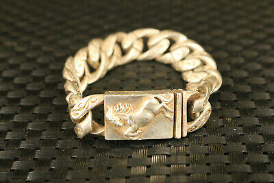 rare old tibet silver hand carved horse statue bracelet noble gift decoration