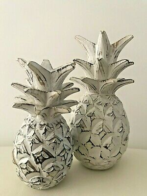 Tropical Distressed White Wash Set Of 2 Rustic Carved Wooden Pineapple Statue