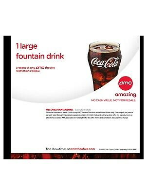 AMC Theatres 1 Large Fountain Drink Theater Soda  Expires 12/31/2020  E-Delivery