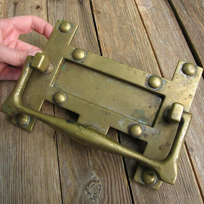 Antique Rare Brass Letter Box Plate with Door Knocker / Mail Slot WORKING SPRING