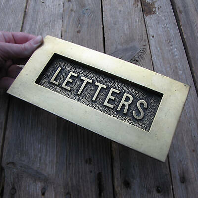 Original Old Brass Letter Box Plate Door Mail Slot Box with WORKING SPRING