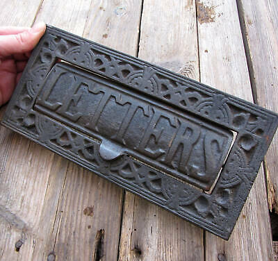 Vintage Large and Heavy Cast Iron Letter Box Plate Door Mail Slot Mailbox