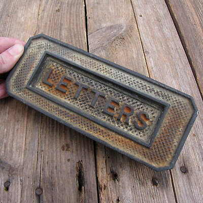 Antique Cast Iron Letter Box Plate Door Mail Slot Mailbox 1930s WORKING SPRING