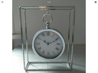 New Mantel Table Clock Silver Style Roman Number Hanging Table Clock Boxed