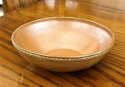 Small Arts and Crafts Hammered Copper Bowl with Rope Twist Edging