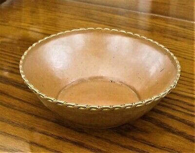 Small Arts and Crafts Hammered Copper Bowl with Rope Twist Rim