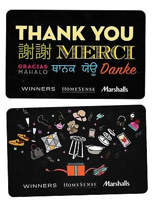 2 collectible WINNERS MARCHALLS HOMESENCE TJX STYLE+ gift card cards Canada