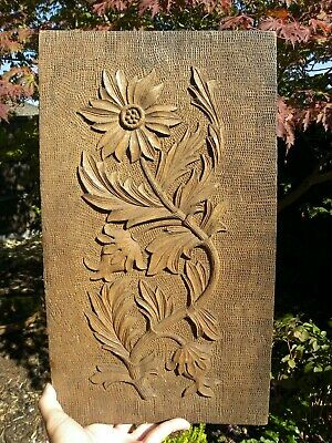 Impressive Very Old Hand Carved Solid Oak Panel Of Flowers/Leaves Carvings Nice