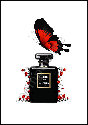 Black Perfume Bottle Print Fashion Wall Art Decor Picture Roses & Butterfly A4