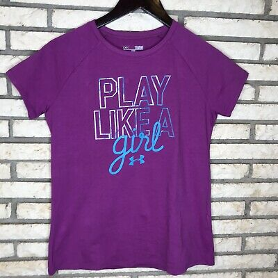 Under Armour Girl Youth Short Sleeve Loose Fit Purple Top Play Like A Girl Large