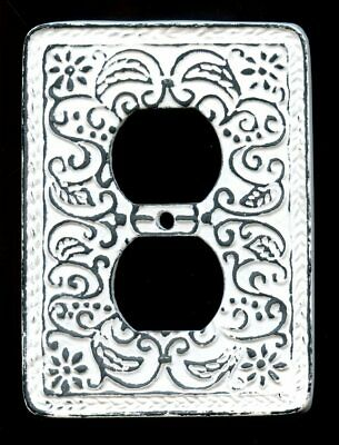 Metal Cast Iron Outlet Cover Plate / 1 Gang White Vintage Farmhouse Style New