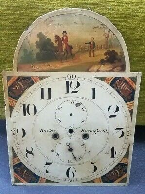 Early Antique Signed Rare FOLK ART PAINTING GRANDFATHER LONGCASE CLOCK DIAL FACE