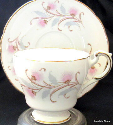 Roslyn English Bone China Tea Cup and Saucer Set Pink and Gray Feathery Ferns