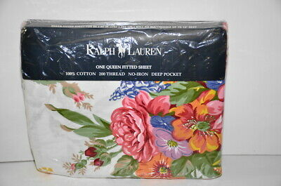 Ralph Lauren MELISSA Floral Fitted Sheet Queen Size Made in USA Vintage 1992 New
