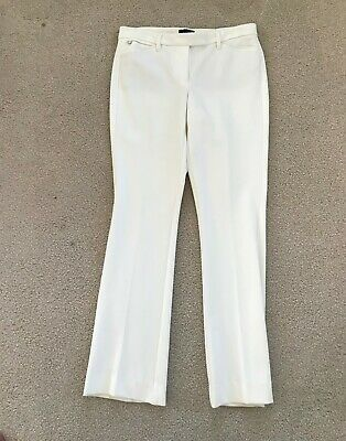 NWT White House Black Market Ponte Slim Bootcut Pants Ecru 6 Regular