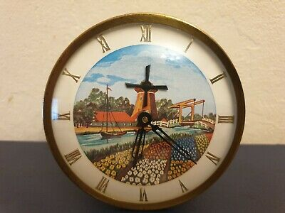 Rare Brass Cased Mantel Clock Wind Up Good Condition Works With Turning Windmill