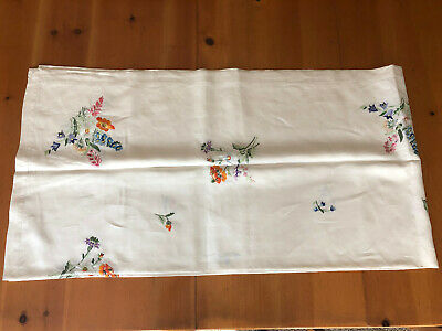 Vintage White Embroidered Table Cloth 90 x 46 Floral Pattern
