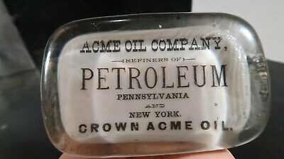 Acme Oil COmpany Refiner Petroleum Crown Acme Oil Glass Paperweight