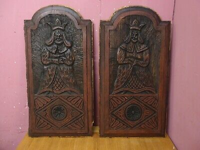 PAIR of ANTIQUE VICTORIAN CARVED OAK ARCHED TOP KING & QUEEN DESIGN PANELS