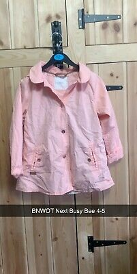BNWOT Girls Blush Pink Softshell Hooded Lightweight Coat Busy Bee Next 4-5
