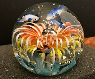 Gorgeous Big Large Dolphin Fish Sea Life Art Glass Paperweight Aquarium 5""