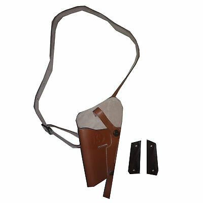 US WWII M3 Brown Leather Shoulder Holster w/1911 .45 Wood Grip (LH) - Repro AG3
