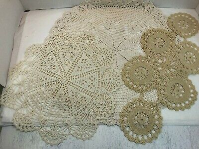 Lot of 3 pretty vintage crocheted doilies - 2 round and 1 oval