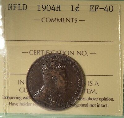 1904H  - Newfoundland Large Cent - ICCS Graded EF-40  - Serial #X0X 220