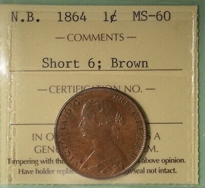 1864  - New Brunswick 1 Cent - ICCS Graded MS-60  - Serial #X0X 221