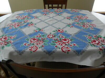 Nice  Vintage Tablecloth - White with Red Flower Design.   48 by 52