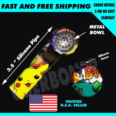 """New 4.5"""" Heroes🆕💥 Silicone Tobacco Smoking Hand Pipe Glass Bowl Screen🥴️🔥🥴️"""