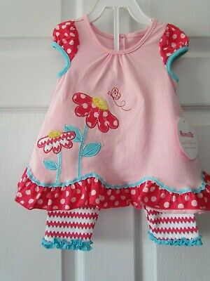 NWT Nannette Kids Pink Polka Dot Toddler Girl 2 Pc Dress Outfit Size 12 Months