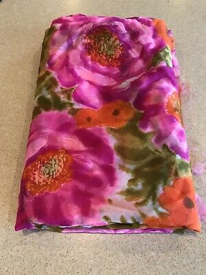 Vintage Yardage Fabric Material 1960's Chiffon Poly 2 Yds Fuschia Orange Avocado