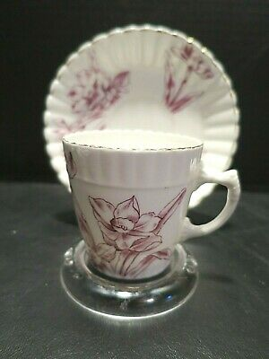 Pretty 1910 Aynsley Demitasse Pink Floral Teacup and Saucer