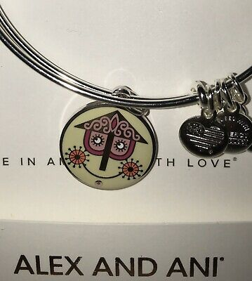 Disney Alex & and Ani It's a small world Two-Sided Silver Bracelet