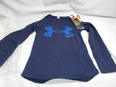 Under Armour Youth Girl T-Shirt XS Cold Gear Fitted Long Sleeve Dark Blue