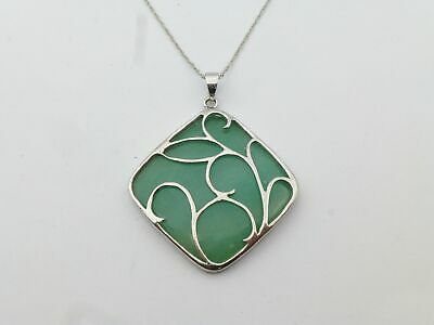 925 Sterling Silver Green Jadeite Jade Pendant Chain Necklace