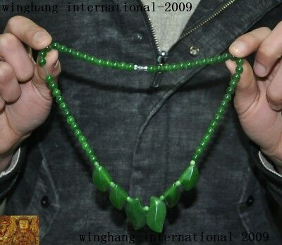 Collect China green glass carve Belle beauty Sweater decoration necklace Pendant