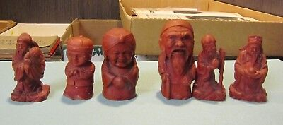 Vintage Asian Red Resin Carved Japanese or Chinese Gods 6 Different Figurine Lot