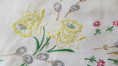 Vintage Pair Hand Embroidered Daffodils Floral Crochet Edge Pillowcases
