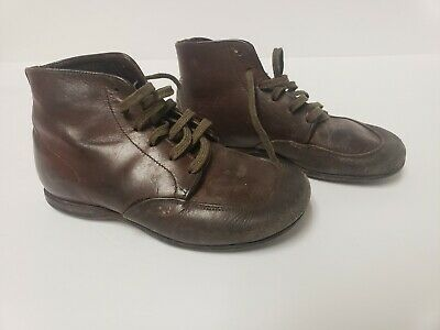 Antique Baby Toddler Child's Shoes Brown Leather Boys Or Girls Lace Up Boots