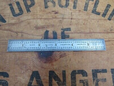"Vintage L. S. S. Co. Starrett 6"" Rule Scale No 603 Tempered No 4 Tool Machinist"