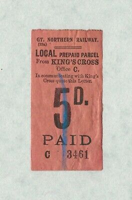 Great Northern Railway GNR prepaid 5d parcel label from King's Cross
